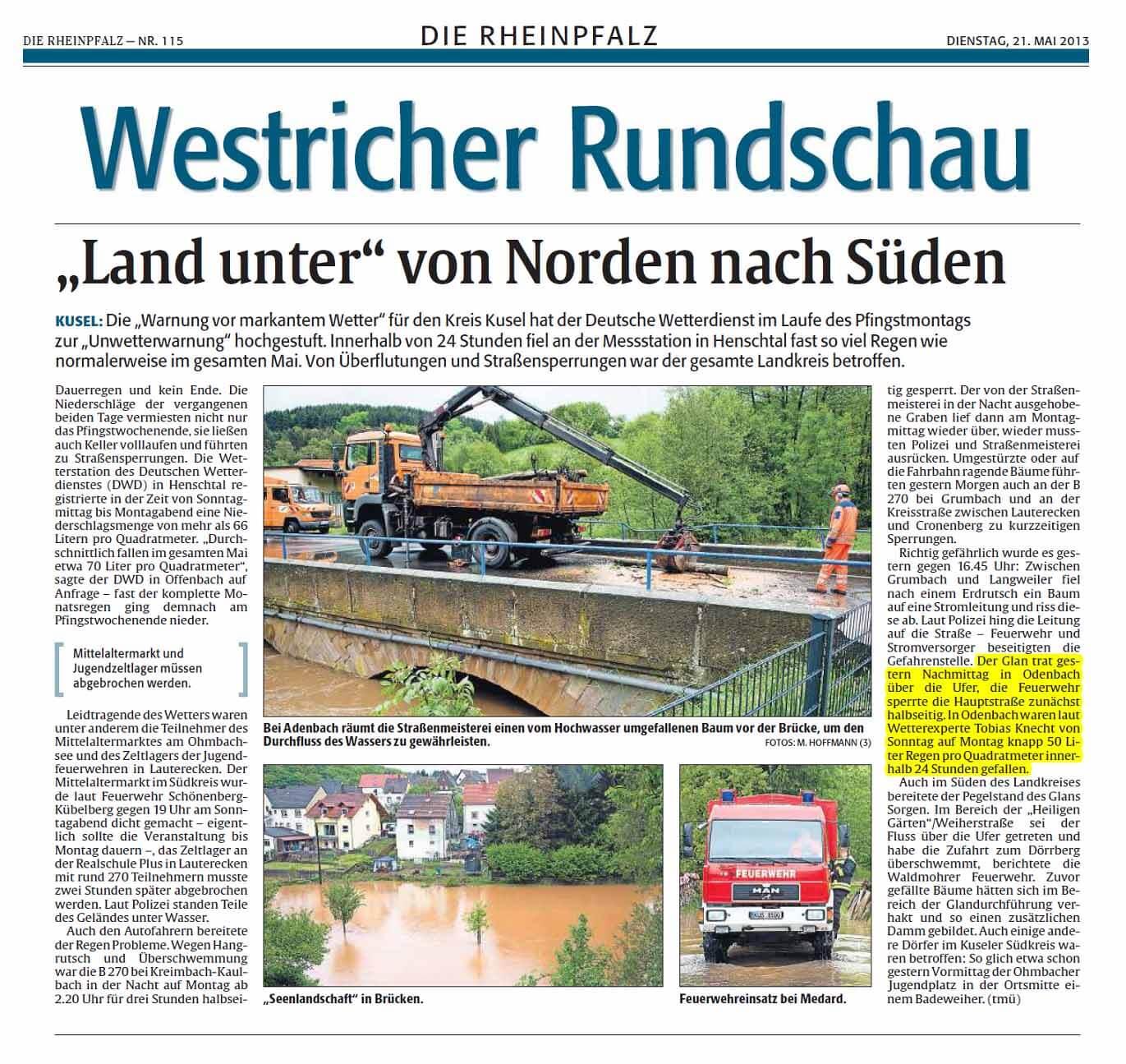 Rheinpfalz 21.05.2013
