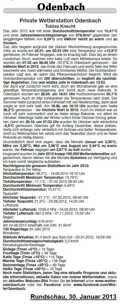 Rundschau 30.01.2013